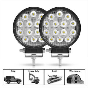 2PC 42W LED Work Light Spot Offroad Fog Lamp Pods Round SUV ATV 4WD SUV Driving