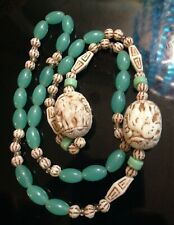 Antique Deco Czech Max Neiger Jade Green & Uranium Glass Beads Elephant Necklace