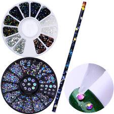 3Pcs Nail Rhinestone Charms 3D Nail Art Decoration in Wheel W/Gems Picker Pen