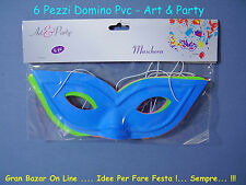 CARNEVALE 6 MASCHERE MASCHERE DOMINO COLOR PVC ART & PARTY FESTA SFILATA
