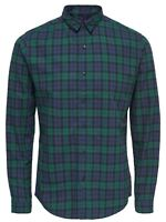 ONLY & SONS Trent Long Sleeve Shirt Mens Slim Fit Check Smart Shirts Green Blue