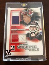 10/11 ITG Ready Willing Able Hedberg/Brodeur Dual Jersey Hockey Card 1/1