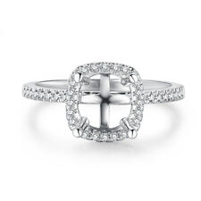 Round 6.5mm 1/5CT Real Diamond Semi Mount Engagement Wedding Ring 18k White Gold