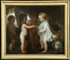 "18th CENTURY FINE LARGE ITALIAN OLD MASTER OIL ON CANVAS  ""Betrothal Of Putti"""