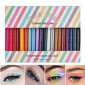 Waterproof Eyeliner Pencil Set 20 Colors Long Lasting Matte Crème Gel Eye Liners