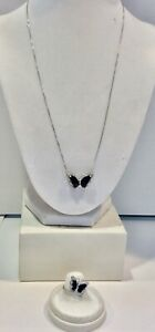 10k White Gold, Blue Sapphire Style Stone, and Diamond Necklace & Ring Jewelry