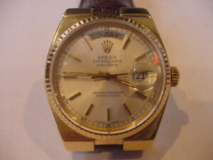 BEAUTIFUL 1979 ROLEX 18K 19018 PRESIDENT DAY DATE OYSTERQUARTZ SILVER DIAL!