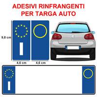 2 ADESIVI TARGA AUTO ADESIVO RINFRANGENTI ITALIA EUROPA AUTOMOBILE ke