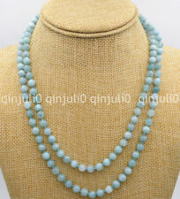 "Natural 6mm Brazilian aquamarine gems round beads necklace 36"" JN2207"