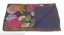 "Indian Sari Twin Kantha Quilt Quilt Bedspread Bed Cover Kantha Rallies 60""x 90"""