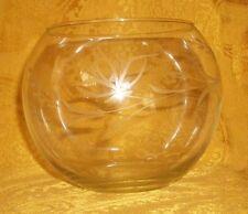 """Vintage Etched Crystal Rose Bowl 4""""T x 3.5""""D"""