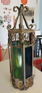 VINTAGE RETRO HANGING LAMP LIGHT FIXTURE IRON & COLORED GLASS