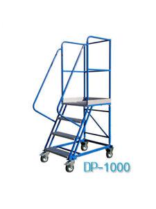Fahrbare Podestleiter Treppen mit Rollen 3 Stufe Stahl Leiter Plattform DP10
