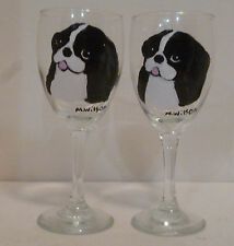 B&W Japanese Chin Dog Wine Glasses set 2 Hand Painted by Pet Lovers Boutique