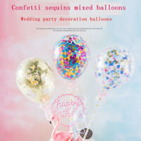 Confetti Sequin Balloon Cake Toppers Decoration Baby Shower Wedding Party Supply