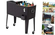New listing Giantex 80 Quart Rattan Rolling Cooler Cart Outdoor Patio Portable Party Drink B
