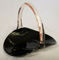 RARE! Viking Glass Basket - Black with Clear Applied Handle, c. 1950s