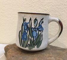 Blue Iris Coffee Mug Stonewear Handpainted