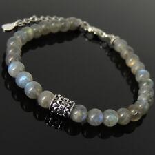 Men's Women Bracelet Labradorite Sterling Silver Fleur de Lis Clasp Link 1288