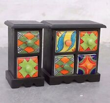 Two Antique Style Beautiful Hand Painted Wooden Spice Rack with Ceramic Drawers