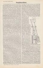 Historische Motoren Ottomotor Lenoir Zylinder Gasmotoren Stich 1887 antikes Bild