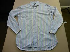 086 MENS NWOT POLO RALPH LAUREN REGENT BLUE / WHITE STRIPE L/S SHIRT 34 $140.