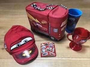 Bundle 5 x Disney Cars Lightning McQueen Lunchbox Cups Baseball Cap Stickers