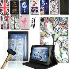 Leather Stand Cover Case + Tempered Glass Screen Protector For Amazon Fire HD 8