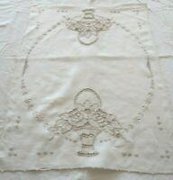 Vintage Linen Madeira Embroidered Dresser Scarf, basket floral, white/ecru