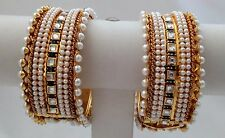India Bangle Jewelery Royal Pearl Set Gold Plated Set of 2 size adjustable.