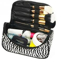 Lady Makeup Cosmetic Bag Nylon+Leather Black White Toiletry Zebra Travel Handbag