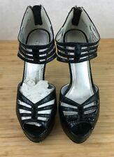 NEW Womens 7.5M Cathy Jean 5 inch Black Snakeskin Stiletto High Heels Toe Peek