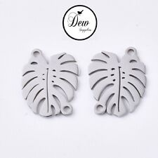 4 pcs Monstera Leaf 201 Stainless Steel connectors,  jewelry making findings