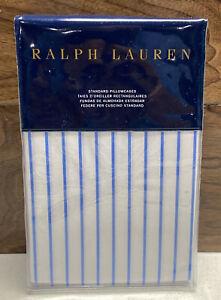 Ralph Lauren Prescot Stripe Standard Pillow Case Set Of 2 100% Cotton