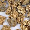 Gold Titanium Aura Geodes Agate Crystal Raw Stone Druzy Halves Minerals Specimen
