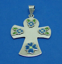 NICE VINTAGE MEXICAN STERLING SILVER CROSS ENAMEL BLUE FLOWERS PENDANT NECKLACE