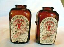 New listing Vintage Levi Garrett & Sons Tobacco Scotch & Rappee Snuff Amber Bottle Jars Pair