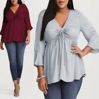 Womens Fashion Long Sleeve Blouses Work Formal Tops Beach Shirt Hips Tee Baggy