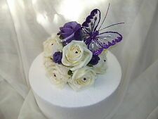 WEDDING FLOWER CAKE TOPPER, cadburys purple and ivory