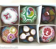 NEW SMALL HAND MADE 6 PC SET GLOW IN DARK FLORAL GEOMETRIC FLOATING BALL CANDLES