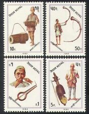 Nepal 1983 Music/Traditional Instruments/Drums/Horn/Musicians 4v set (n38823)