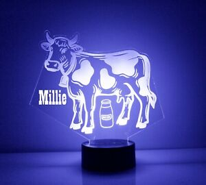Cow Night Light - Personalized FREE - LED Desk LAMP. 16 Color With Remote.