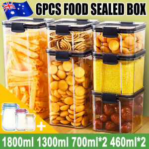 6Pc Kitchen Pantry Airtight Food Storage Container  Transparent Sealed with Lids