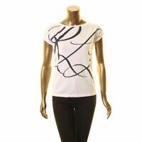 LAUREN RALPH LAUREN Women's White Petite Graphic Tee Casual Shirt Top PXS TEDO
