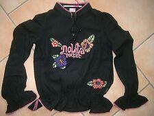 (148) Nolita Pocket Girls langarm Bluse Wolle mit Logo & Blumen Stickerei gr.140
