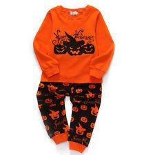 Hallowen Pumpkin Cloth Baby Kids Toddler Boys Sleepwear Long Sleeve Pajamas Set