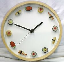 "SUSHI CLOCK sashimi wall Restaurant SMALL MINI miniature round maple 8"" glass"