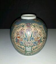 Vintage Hand Painted in MACAU Macao Porcelain GINGER JAR VASE Floral Design