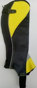YELLOW mustard SYNTHECTIC LEATHER HORSE RIDING HALF CHAPS