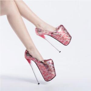 Ladies Sexy Nightclub Plus Size Pumps Super High Stiletto Heels Platform Sandals